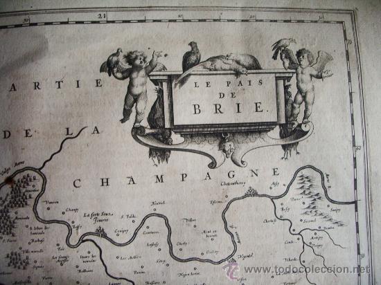 1635C-MAPA ORIGINAL BLAEU.BRIE.PARÍS.CHAMPAGNE..FRANCIA.FRANCE (Arte - Cartografía Antigua (hasta S. XIX))