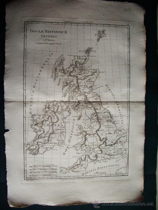 1787- MAPA DE INGLATERRA.ISLAS BRITÁNICAS.LONDRES.MANCHESTER. BONNE. ORIGINAL (Arte - Cartografía Antigua (hasta S. XIX))