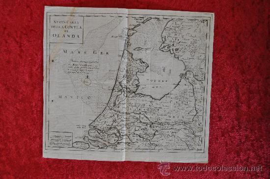 ANTIGUO MAPA GRABADO DE S.XVIII. NUOVA CARTA DELLA CONTEA DI OLANDA. HOLANDA. ORIGINAL. (Arte - Cartografía Antigua (hasta S. XIX))