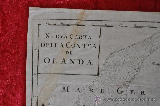 Arte: Antiguo mapa grabado de s.XVIII. Nuova carta della contea di Olanda. Holanda. original. - Foto 2 - 30013634