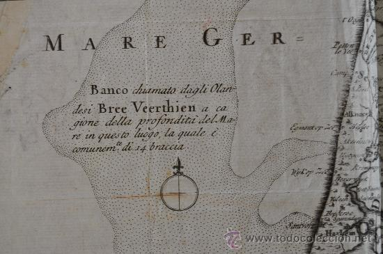 Arte: Antiguo mapa grabado de s.XVIII. Nuova carta della contea di Olanda. Holanda. original. - Foto 3 - 30013634