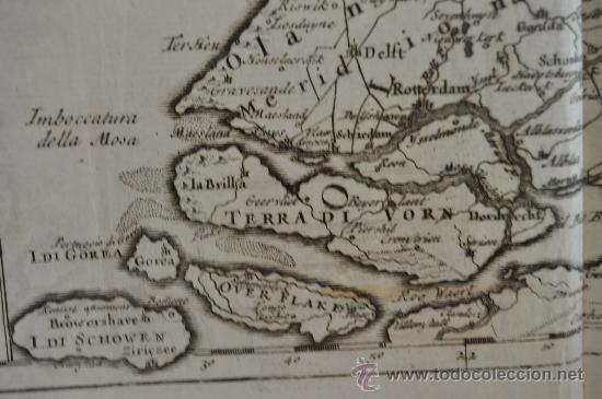 Arte: Antiguo mapa grabado de s.XVIII. Nuova carta della contea di Olanda. Holanda. original. - Foto 4 - 30013634