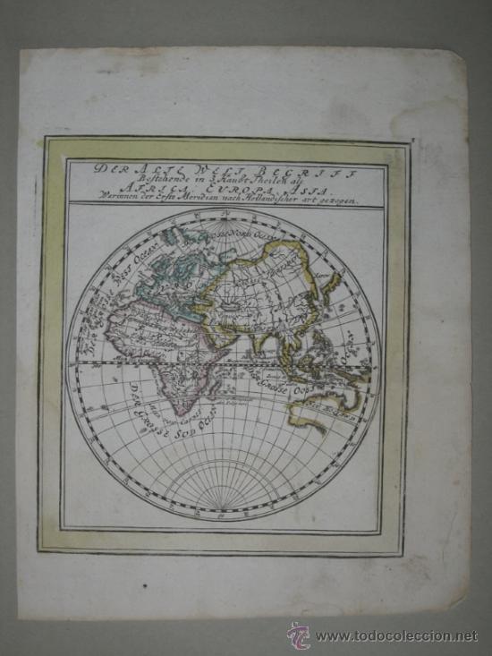 Arte: Mapa del hemisferio este, Bodenehr, 1704 - Foto 2 - 32512669