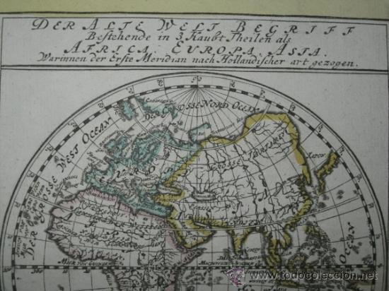 Arte: Mapa del hemisferio este, Bodenehr, 1704 - Foto 3 - 32512669