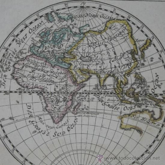 MAPA DEL HEMISFERIO ESTE, BODENEHR, 1704 (Arte - Cartografía Antigua (hasta S. XIX))