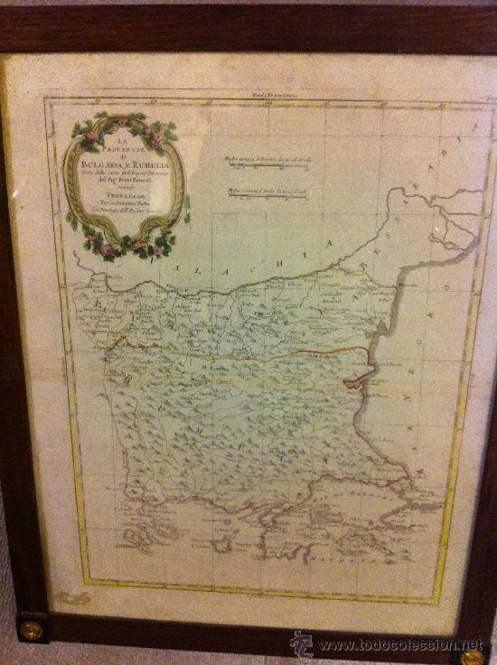 MAPA BULGARIA E RUMELIA DE ANTONIO ZATTA, SIGLO XVIII 53X43 (Arte - Cartografía Antigua (hasta S. XIX))