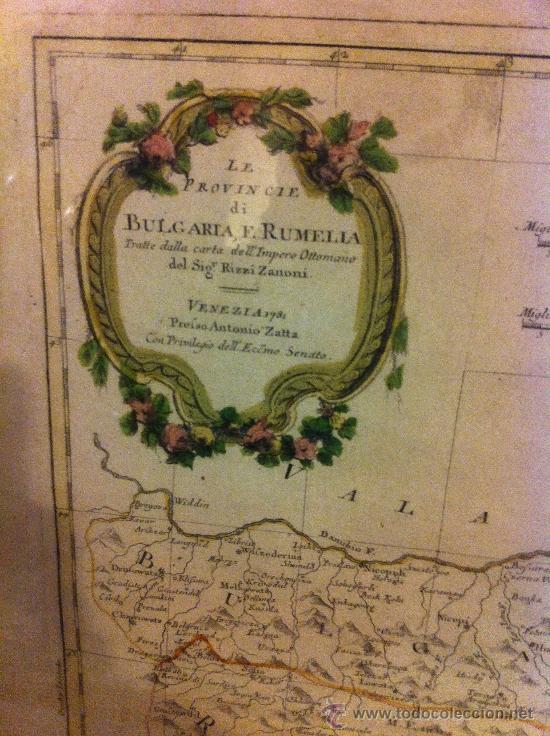 Arte: mapa BULGARIA E RUMELIA de antonio zatta, siglo XVIII 53x43 - Foto 2 - 34268590