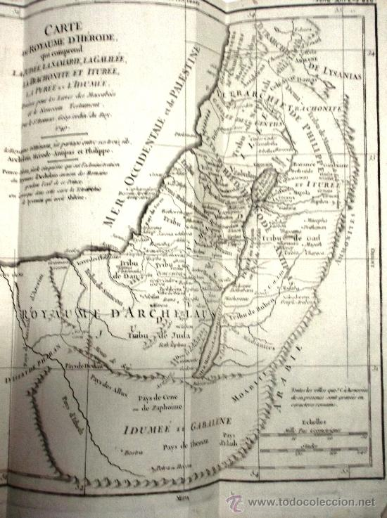 Arte: MAPA ANTIGUO SIGLO XVIII (1749). CARTE DU ROYAUME DHERODE: LA JUDEE, LA SAMARIE... - Foto 2 - 34543373