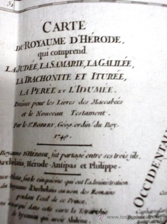 Arte: MAPA ANTIGUO SIGLO XVIII (1749). CARTE DU ROYAUME DHERODE: LA JUDEE, LA SAMARIE... - Foto 3 - 34543373