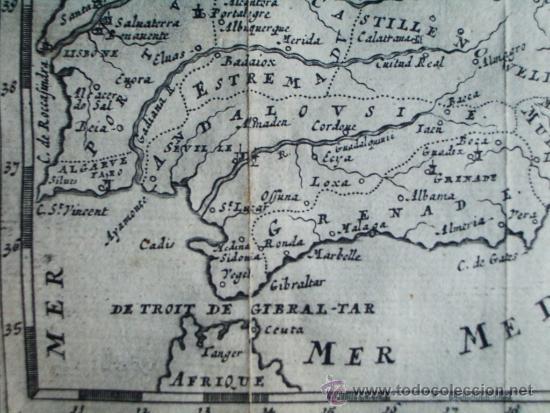 Arte: 1725-MAPA ORIGINAL DE ESPAÑA Y PORTUGAL. JACQUES PEETERS - Foto 3 - 34675296