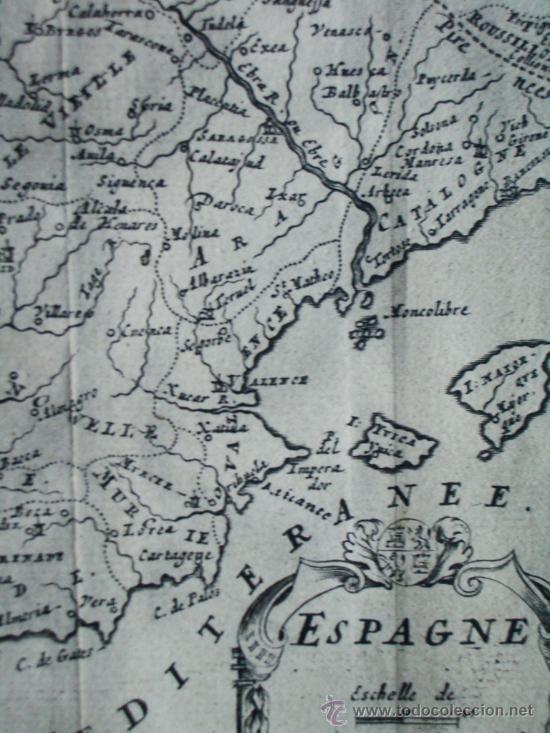 Arte: 1725-MAPA ORIGINAL DE ESPAÑA Y PORTUGAL. JACQUES PEETERS - Foto 4 - 34675296