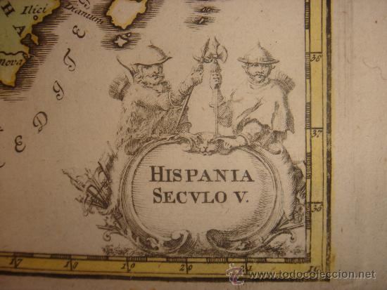 MARAVILLOSO MAPA HISTÓRICO DE LA ESPAÑA VISIGODA,ORIGINAL,WEIGEL, 1770.IMPECABLE COLOREADO (Arte - Cartografía Antigua (hasta S. XIX))