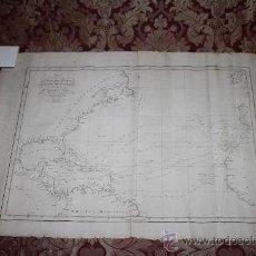 Arte: CARTA DEL OCEANO ATLANTICO SETENTRIONAL, CON LAS DERROTAS QUE SIGUIÓ CRISTOBAL COLON - AÑO 1825. Lote 35913392