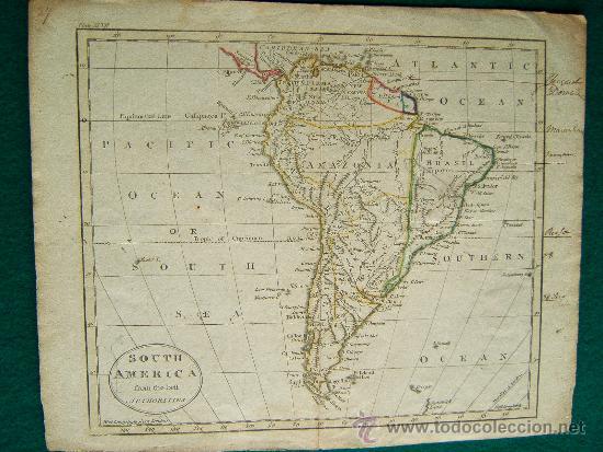 SOUTH AMERICA FROM THE BEST AUTHORITIES - GUILLERMO GUTHRIE - LONDON - MAPA 21X26 CM. - AÑO 1794 ? (Arte - Cartografía Antigua (hasta S. XIX))