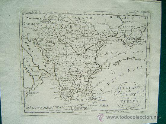HUNGARY WITH TURKY IN EUROPE -THOMAS SALMON Y WILLIAM JOHNSTON -LONDON- MAPA 21X26 - AÑO 1749 ? (Arte - Cartografía Antigua (hasta S. XIX))
