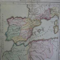 Arte: AÑO 1761. ENORME MAPA GUERRAS PÚNICAS. PENÍNSULA IBÉRICA Y NORTE DE ÁFRICA. BUY DE MORNAS. 56 X 42 C. Lote 36234677