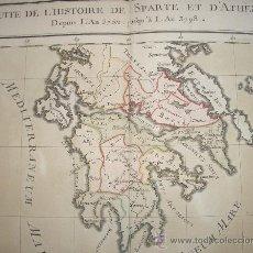 Arte: ENORME MAPA 1761. ATENAS Y ESPARTA. GRECIA ANTIGUA. ILUMINADO. BUY DE MORNAS.. Lote 36412429