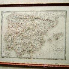 Arte: CARTE DE LA PENINSULE COMPRENANT L'ESPAGNE ET LE PORTUGAL -MAPA M. LAPIE- 46X60 CM - AÑO 1836. . Lote 36560837