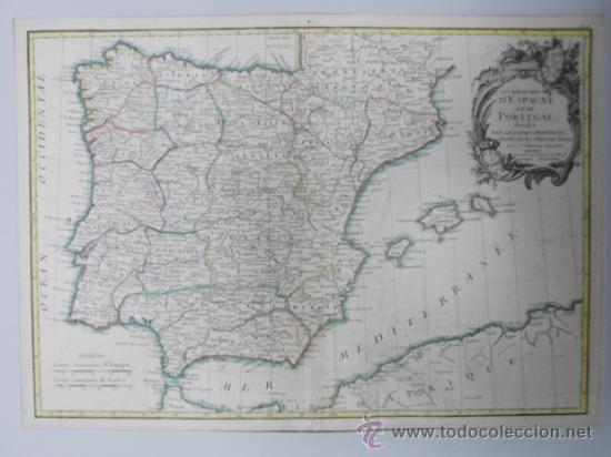 MAPA DE ESPAÑA Y PORTUGAL, 1775, JEAN JANVIER (Arte - Cartografía Antigua (hasta S. XIX))