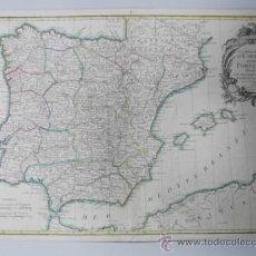 Arte: MAPA DE ESPAÑA Y PORTUGAL, 1775, JEAN JANVIER. Lote 36714311