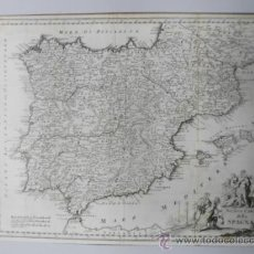 Arte: MAPA DE ESPAÑA Y PORTUGAL, 1745, ALBRIZZI. Lote 36714383