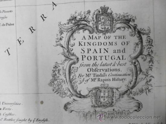 Arte: Gran mapa de España y Portugal, 1745, Seale - Foto 3 - 36714426