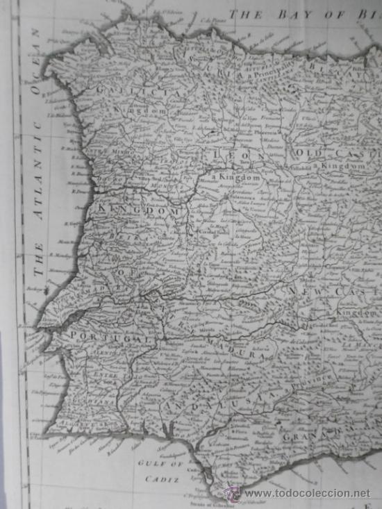 Arte: Gran mapa de España y Portugal, 1745, Seale - Foto 4 - 36714426