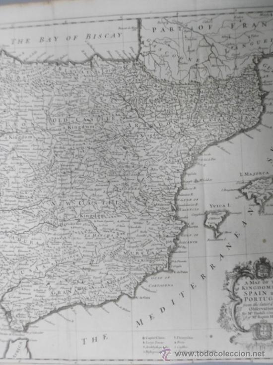 Arte: Gran mapa de España y Portugal, 1745, Seale - Foto 5 - 36714426