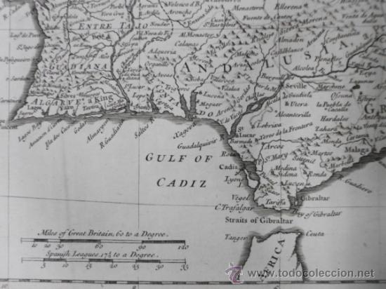Arte: Gran mapa de España y Portugal, 1745, Seale - Foto 6 - 36714426