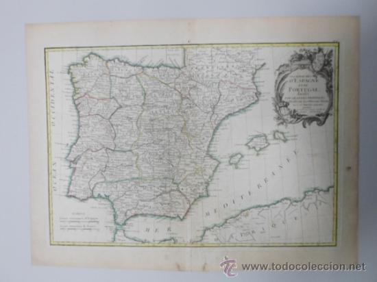 Arte: Mapa de España y Portugal, 1775, Jean Janvier - Foto 2 - 36714311