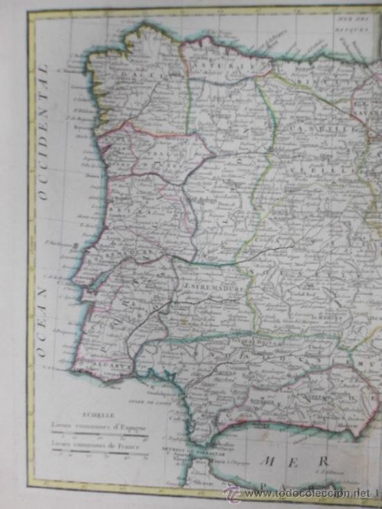 Arte: Mapa de España y Portugal, 1775, Jean Janvier - Foto 3 - 36714311