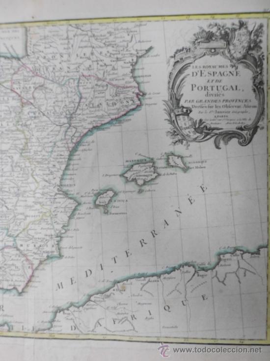 Arte: Mapa de España y Portugal, 1775, Jean Janvier - Foto 4 - 36714311