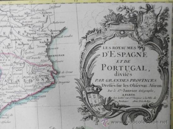 Arte: Mapa de España y Portugal, 1775, Jean Janvier - Foto 5 - 36714311