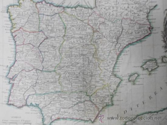 Arte: Mapa de España y Portugal, 1775, Jean Janvier - Foto 6 - 36714311