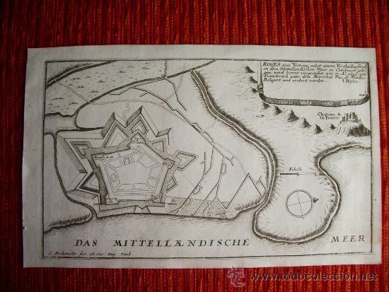 1695- MAPA PLANO ORIGINAL DE ROSES. ROSAS. GIRONA. GERONA (Arte - Cartografía Antigua (hasta S. XIX))