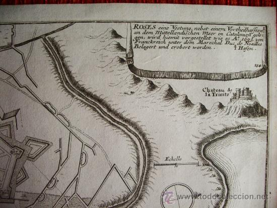 Arte: 1695- MAPA PLANO ORIGINAL DE ROSES. ROSAS. GIRONA. GERONA - Foto 3 - 36923407