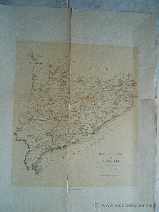 MAPA ITINERARIO DE CATALUÑA - F.GONZALEZ ROJAS EDITOR - 61X45 CM.- FINALES SIGLO XIX - 1ª EDICION. (Arte - Cartografía Antigua (hasta S. XIX))