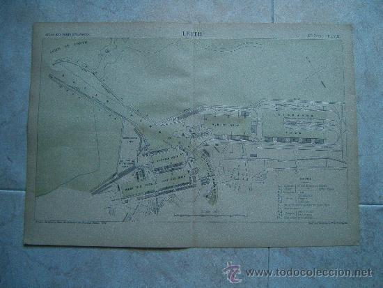 LEITH-EDIMBURGO-ESCOCIA-REINO UNIDO-MARCHADIER-MAPA 33X49-ATLAS PORTS ETRANGERS-1884-1ªEDICION. (Arte - Cartografía Antigua (hasta S. XIX))