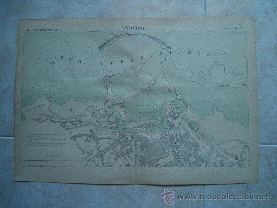 LIVOURNE-LIBORNO-TOSCANA-ITALIA-MARCHADIER-MAPA 33X49 CM-ATLAS PORTS ETRANGERS-1884-1ª EDICION. (Arte - Cartografía Antigua (hasta S. XIX))