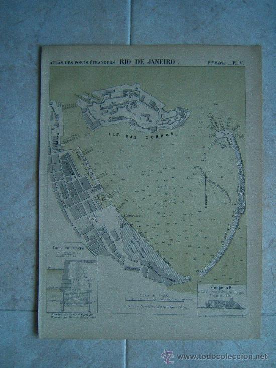 RIO DE JANEIRO-BRASIL-MARCHADIER-MAPA 33X23 CM-ATLAS PORTS ETRANGERS-1884-1ª EDICION. (Arte - Cartografía Antigua (hasta S. XIX))