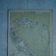 Art: RIO DE JANEIRO-BRASIL-MARCHADIER-MAPA 33X23 CM-ATLAS PORTS ETRANGERS-1884-1ª EDICION.. Lote 37018809