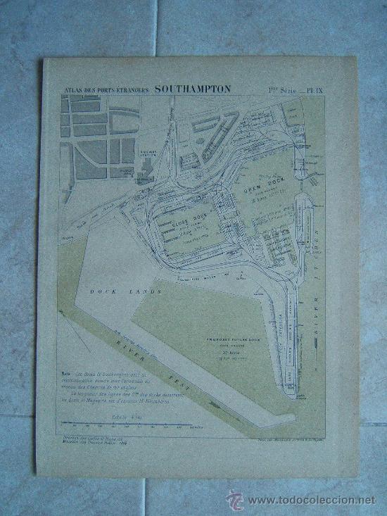 SOUTHAMPTON-INGLATERRA-REINO UNIDO-MARCHADIER-MAPA 33X25 CM-ATLAS PORTS ETRANGERS-1884-1ª EDICION (Arte - Cartografía Antigua (hasta S. XIX))