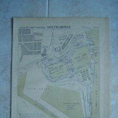 Arte: SOUTHAMPTON-INGLATERRA-REINO UNIDO-MARCHADIER-MAPA 33X25 CM-ATLAS PORTS ETRANGERS-1884-1ª EDICION. Lote 37018878