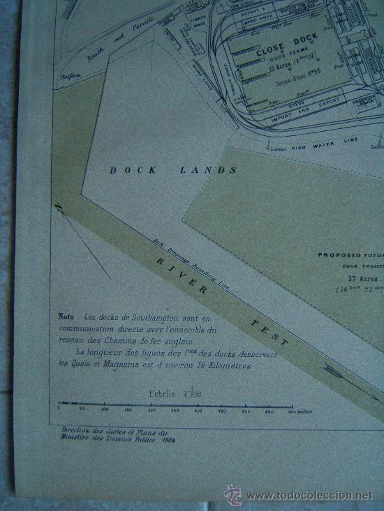 Arte: SOUTHAMPTON-INGLATERRA-REINO UNIDO-MARCHADIER-MAPA 33X25 CM-ATLAS PORTS ETRANGERS-1884-1ª EDICION - Foto 3 - 37018878