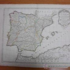 Arte: GRAN MAPA DE ESPAÑA, 1789, DELISLE. Lote 37585622