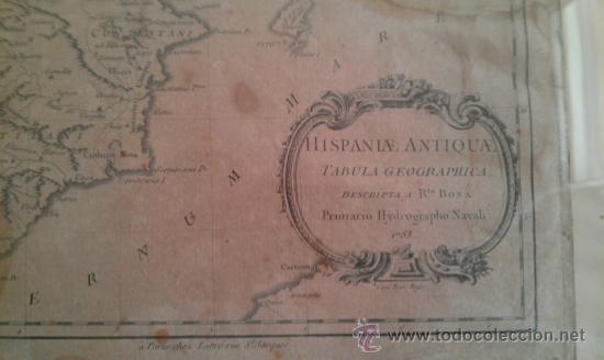 Arte: 1783.HISPANIA ANTIQUAE. TABULA GEOGRAPHICA. MARCO ANTIGUO DE EPOCA - Foto 3 - 37744103