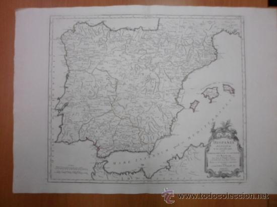 GRAN MAPA DE ESPAÑA Y PORTUGAL EN ÉPOCA ROMANA , 1784, FRANCESCO SANTINI (Arte - Cartografía Antigua (hasta S. XIX))