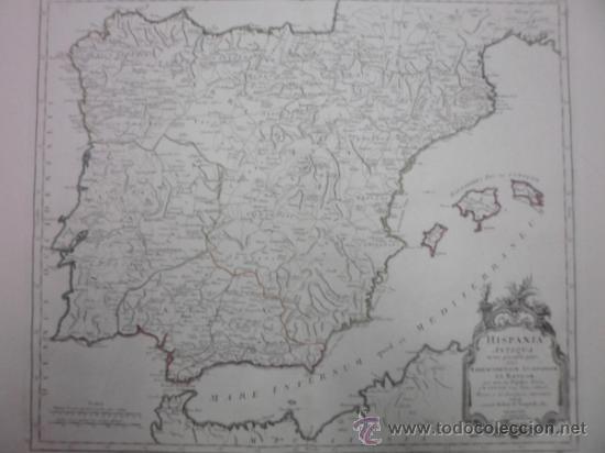 Arte: Gran mapa de España y Portugal en época romana , 1784, Francesco Santini - Foto 2 - 37811411