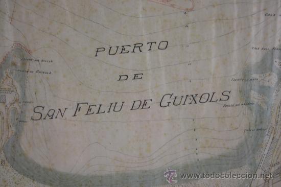 E4-011. PLANO DEL PUERTO DE SAN FELIU DE GUIXOLS SIGLO XIX ESCALA 1 POR 2000 (Arte - Cartografía Antigua (hasta S. XIX))