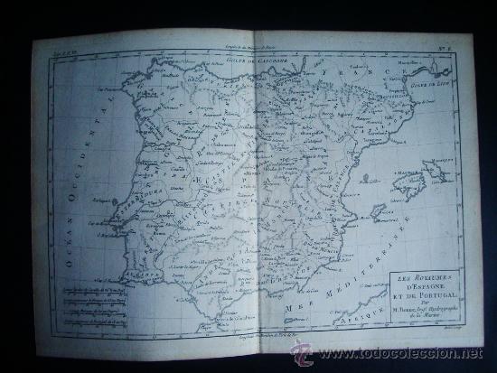 1780-MAPA DE ESPAÑA Y PORTUGAL. BONNE (Arte - Cartografía Antigua (hasta S. XIX))